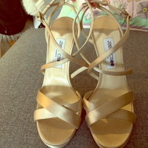 Jimmy Choo Champagne Satin Sandals